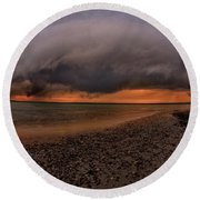 Detroit Point Storm Moving In Round Beach Towel