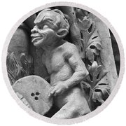 Devil Fanning The Fire, From The Last Judgement Of The Cathedral Of St Etienne In Bourges  Round Beach Towel