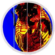 Digital Monkey 3 Round Beach Towel