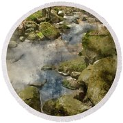 Digital Watercolor Painting Of Autumn Fall Forest Landscape Stre Round Beach Towel