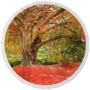 Digital Watercolor Painting Of Beautiful Autumn Fall Nature Fair Round Beach Towel