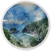 Digital Watercolor Painting Of Beautiful Dramatic Sunrise Landsa Round Beach Towel