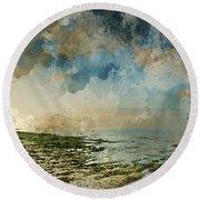 Digital Watercolor Painting Of Beautiful Landscape Panorama Suns Round Beach Towel