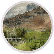 Digital Watercolor Painting Of Beautiful Old Village Landscape N Round Beach Towel