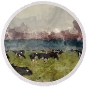 Digital Watercolor Painting Of Cattle In Field During Misty Sunr Round Beach Towel