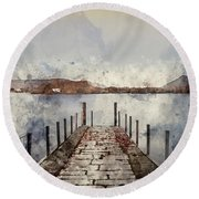 Digital Watercolor Painting Of Landscape Image Of Derwent Water  Round Beach Towel
