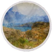 Digital Watercolor Painting Of Lizard Point And Lighthouse, The  Round Beach Towel