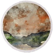 Digital Watercolor Painting Of Llyn Nantlle At Sunrise Looking T Round Beach Towel