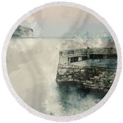 Digital Watercolor Painting Of Peaceful Landscape Of Stone Jetty Round Beach Towel