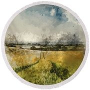 Digital Watercolor Painting Of Stunning Countryside Landscape Wh Round Beach Towel