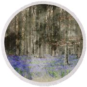 Digital Watercolor Painting Of Stunning Landscape Of Bluebell Fo Round Beach Towel