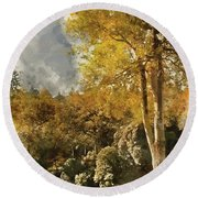 Digital Watercolor Painting Of Stunning Vibrant Autumn Forest La Round Beach Towel