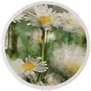 Digital Watercolor Painting Of Wild Daisy Flowers In Wildflower  Round Beach Towel