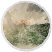 Digital Watercolor Painting Of Windmill In Stunning Landscape On Round Beach Towel