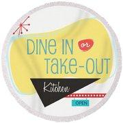 Dine In Kitchen - Art By Linda Woods Round Beach Towel