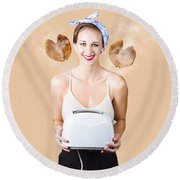 Diner Pinup Girl Serving Breakfast Love Round Beach Towel