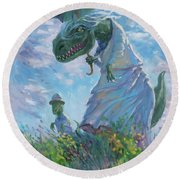 Dinosaur And Son With A Parasol  Round Beach Towel
