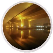 Disappearing Bridge Round Beach Towel by Tom Claud