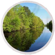 Dismal Swamp Canal In Spring Round Beach Towel