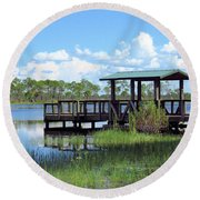 Dock On The River Round Beach Towel