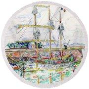 Docks At Saint Malo - Digital Remastered Edition Round Beach Towel