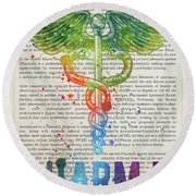 Doctor Of Pharmacy Gift Idea With Caduceus Illustration 03 Round Beach Towel