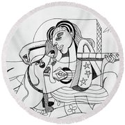 Dog Playing Guitar Round Beach Towel by Anthony Falbo