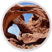 Double Arch In Utah Park During Summer Time  Round Beach Towel