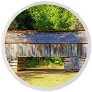 Double Crib Barn In Cades Cove In Smoky Mountains National Park Round Beach Towel