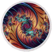 Double Fractal Spiral Round Beach Towel
