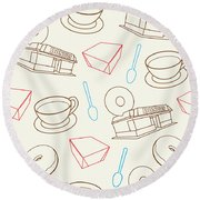 Doughnut_wallpaper_f3 Round Beach Towel
