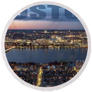 Downtown Boston At Night With Charkes River In The Middle Round Beach Towel