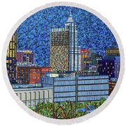 Downtown Raleigh - City At Night Round Beach Towel