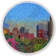 Downtown Raleigh - October Sunset Round Beach Towel
