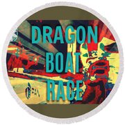 Dragon Boat Race Round Beach Towel