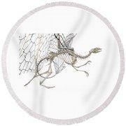 Dragon Skeleton  Round Beach Towel