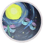 Dragonflies And Moonlight Round Beach Towel