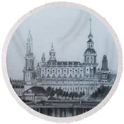 Dresden Cathedral- Dresden Round Beach Towel