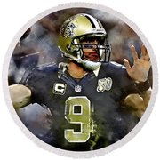 Drew Brees Round Beach Towel