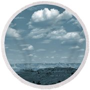 Drifting Clouds And Shifting Shadows Round Beach Towel