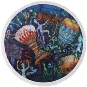 Drumbeat Round Beach Towel