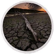 Dry Banks Of Rainy River After Sunset Round Beach Towel
