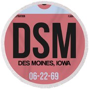 Dsm Des Moines Luggage Tag I Round Beach Towel