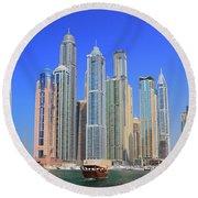 Dubai Marina Dubai Uae Round Beach Towel