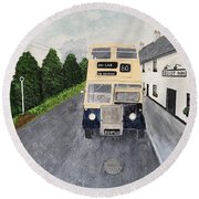 Dublin Bus Painting Round Beach Towel