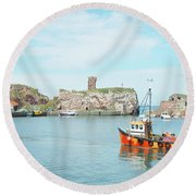 Dunbar Castle Ruins, Harbour And Fishing Boats Round Beach Towel