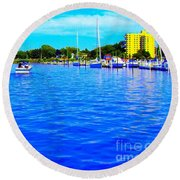 Dunkirk New York Harbor With Neon Effect By Rose Santucisofranko Round Beach Towel by Rose Santuci-Sofranko