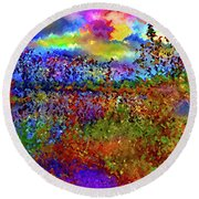 Dusk Someplace Else Round Beach Towel
