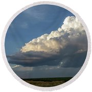 Dying Thunderstorms At Sunset 006 Round Beach Towel