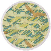 Eagles And Pigeons Round Beach Towel